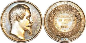 P0511 Rare Médaille Napoléon III Ministère Agriculture 1861 Angoulème Arg FDC