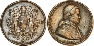 P0526 Médaille Pie Pivs IX Vatican Pape Papal Anges Catholicisme 1860