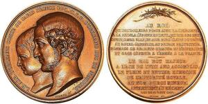 P0534 Rare Médaille Louis Philippe Albert Charles Philippe Orléans 1842 SUP