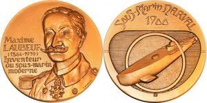 P0540 Rare Médaille Maxime Laubeuf Sous Inventeur Marin Marine Militaire 1939