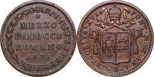 P0567 Papal States Italian States 1/2 Baiocco Gregory XVI 1831 I Roma