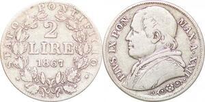 P0569 Papal States Italian States 2 Lire Pius IX 1867 XXII R Roma Silver