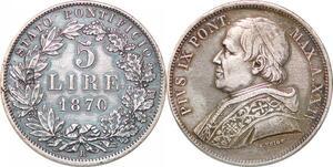 P0570 Papal States Italian States 5 Lire Pius IX 1870 XXIV R Roma Silver