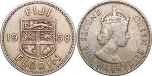 P0589 Fiji Islands Florin Elisabeth II 1958 ->Make offer