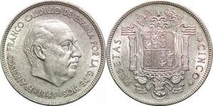 P0595 Spain 5 Pesetas Franco 1949 Stars 1950 AU ->Make offer
