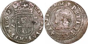 P0602 Spain 16 Maravedis Philip IV 1662 N Granada KM# 172.4 Silver décentrée