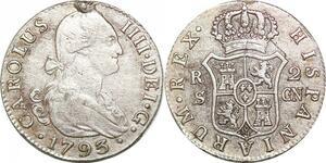 P0604 Spain 2 Reales Carlos IV Sevilla 1793 CN Silver ->Make offer