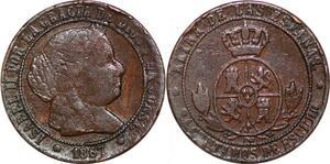 P0610 Spain 2 1/2 Céntimos Escudo 1867 Barcelona O.M ->Make offer