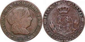 P0613 Spain 2 1/2 Céntimos Escudo 1868 Barcelona O.M ->Make offer