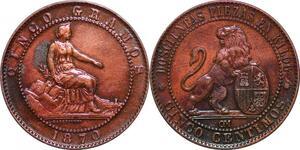 P0616 Spain 5 centimos Provisoire  Isabel II 1870 Barcelona OM AU ->Make offer