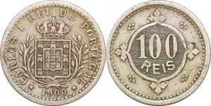 P0630 Portugal 100 Reis Carlos I 1900 ->Make offer