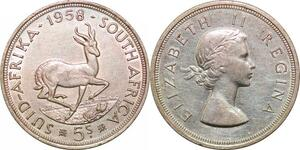 P0641 South Africa 5 Shillings Elizabeth II Regina 1958 silver ->Make offer