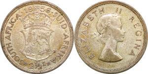 P0645 South Africa 2 1/2 Shillings  Elizabeth II 1956 Silver ->M offer