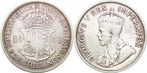 P0646 South Afrca 2 1/2 Shillings George V Suid Afrika 1932 Silver ->Make offer