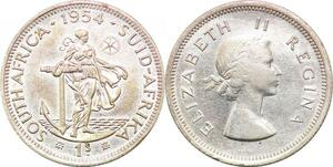 P0648 South Africa Shilling Elizabeth II 1954 Silver AU ->Make offer