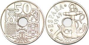 P0723 Spain 50 Centimos Anchor Helm 1949 UNC ->Make offer