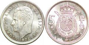 P0728 Spain 5 Pesetas Juan Carlos I 1975 UNC ->Make offer