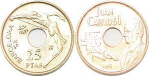 P0730 Spain 25 Pesetas Canary Islands Commemorative 1994 UNC ->Make offer