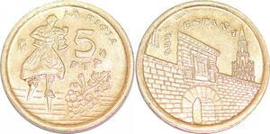 P0731 Spain 5 Pesetas La Rioja Commemorative 1996 UNC ->Make offer