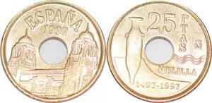 P0736 Spain 25 Pesetas Melilla Autonomous Community 1497 1997 UNC ->Make offer