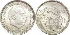 P0740 Spain 5 Pesetas Francisco Franco 1957 UNC ->Make offer