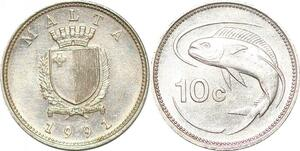P0748 Malta 10 Cents Coat Arms Fish 1991 UNC -> make offer