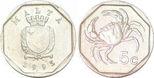 P0749 Malta 5 Cents Coat Arms Crab 1995 UNC ->Make offer