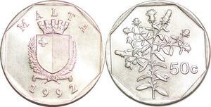 P0752 Malta 50 Cents Coat Arms Flowers 1992 UNC ->Make offer
