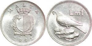 P0753 Malta 1 Lira Coat Arms Bird 1991 UNC ->Make offer