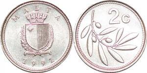 P0754 Malta 2 Cents Coat Arms 1991 UNC ->Make offer