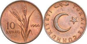 P0760 Turkey 10 Kurus Star Crescent Wheat 1966 UNC ->Make offer
