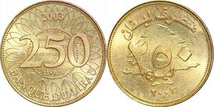 P0761 Liban 250 Līrah Livres Cu-Al Thicker 2003 UNC ->Make offer