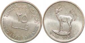 P0771 United Arab Emirates 25 Fils Zayed Khalifa Deer 1425 2005 UNC -> M offer