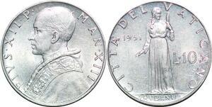 P0805 Vatican 10 Lire Paul XII Pietro Giampaoli 1951 FDC -> Make offer