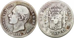 P0840 Spain 2 Pesetas Alfonso XII 1884 (84) MS M Silver ->Make offer