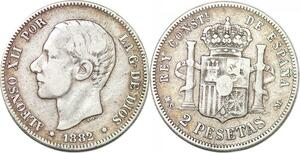 P0842 Spain 2 Pesetas Alfonso XII 1882 (82) MS M Silver ->Make offer