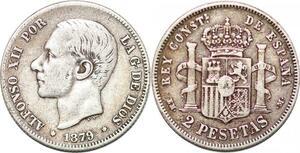 P0845 Spain 2 Pesetas Alfonso XII 1879 (79) EM-M Silver ->Make offer