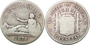 P0851 Spain 2 Pesetas Gouvernement Provisoire 1870 (73?) DE-M Silver -> M offer