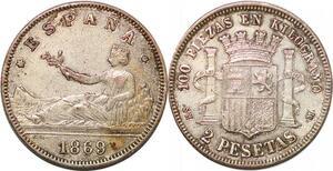P0852 Fake? Spain 2 Pesetas Gouvernement Provisoire 1869 (69) DE-M Silver