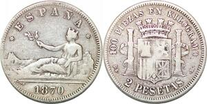 P0853 Spain 2 Pesetas Gouvernement Provisoire 1870 (73?) DE-M Silver -> M offer
