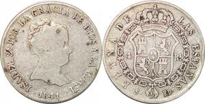 P0858 Spain 4 Reales Isabel II 2nd type 1841 S-RD Sevilla Silver -> Make offer