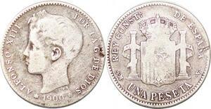 P0862 Spain Peseta Alfonso XIII 1900 SM V Madrid Silver -> Make offer