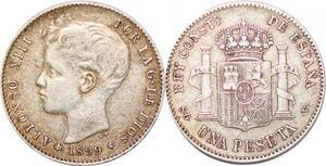P0863 Spain Peseta Alfonso XIII 1899 SG V Silver  -> Make offer