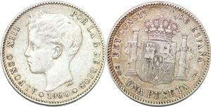 P0864 Spain Peseta Alfonso XIII 1900 SM V Madrid Silver -> Make offer
