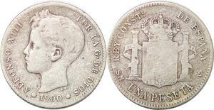 P0865 Spain Peseta Alfonso XIII 1900 SM V Madrid Silver -> Make offer