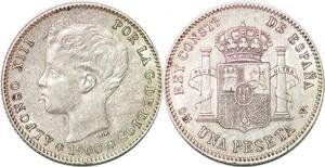 P0866 Spain Peseta Alfonso XIII 1900 SM V Madrid Silver -> Make offer