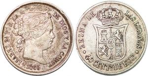 P0876 Spain 40 Centimos Escudo Isabel II 1865 Madrid Silver -> Make offer