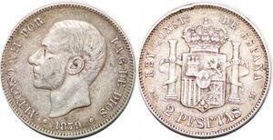 P0899 Spain 2 Pesetas Alfonso XII 1879 (79) EM-M Silver -> Make offer