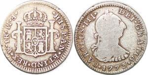 P0909 Mexico Un Real Carlos III 1773 MF (reverse) Mo Mexico silver