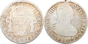 P0921 Mexico 2 Reales Carlos III 1808 TH Mexico city Silver -> Make offer